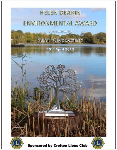 Helen Deakin Award Certificate