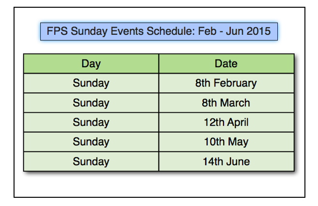 Sunday Events Schedule Feb Jun 2015