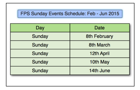Sunday Events Schedule Feb Jun 2015
